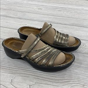 Naot Gold Distressed Strappy Sandals - sz 39